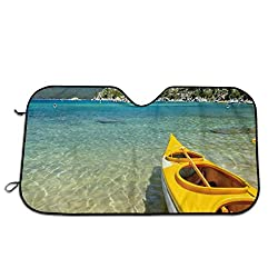 Generic Windshield Sunshade for Car,Extreme Sports In Wild Lakeside Places Scenic Activities,Front Window Sun Shade Visor Shield Cover(27.5 x 51)