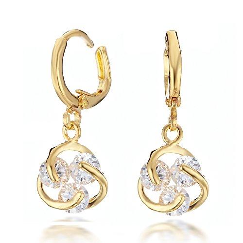 Gemini Ohrhänger (Gold 18K), attraktiver eingefasster Kristall Stein, Rundform, sehr leicht, für gehobene Anläße, beliebt bei Girls & Damen, 2,5 cm Länge