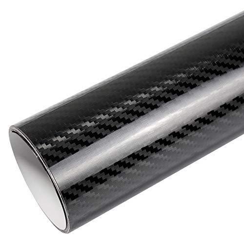 TipTopCarbon 16,45€/m² 5D Carbon Folie Super Glanz Autofolie schwarz Hochglanz BLASENFREI 1m x 1,52m mit Luftkanäle