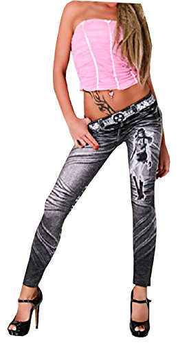 Jahre 80 Große Kostüme Extra (Leggings Jeans für Frauen Modell One Size Farbe Schwarz Mädchen mit)
