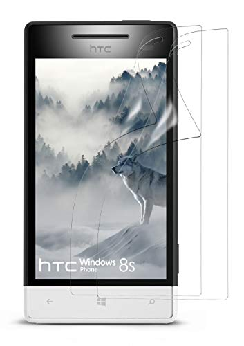 moex 2X HTC Windows Phone 8S | Schutzfolie Klar Display Schutz [Crystal-Clear] Screen Protector Bildschirm Handy-Folie Dünn Displayschutz-Folie für HTC Windows Phone 8S Displayfolie (Htc Phone Windows)