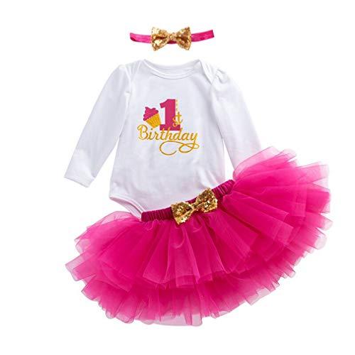mama stadt 3 Pezzi Abiti Vestito Bambina Neonata Primo Compleanno  Abbigliamento Pagliaccetto + Gonna + Fascia 9f43395988b8