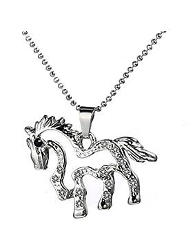 Silberner Pferde Anhänger mit Kristall Besatz Pony Schaukelpferd Mädchen Schmuck