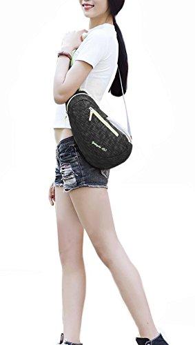 FakeFace Neu Rucksack Umhängetasche Brusttasche Schultasche Tragetasche Brustbeutel Sport Tasche Multifunktionrucksack für Outdoor Schwarz