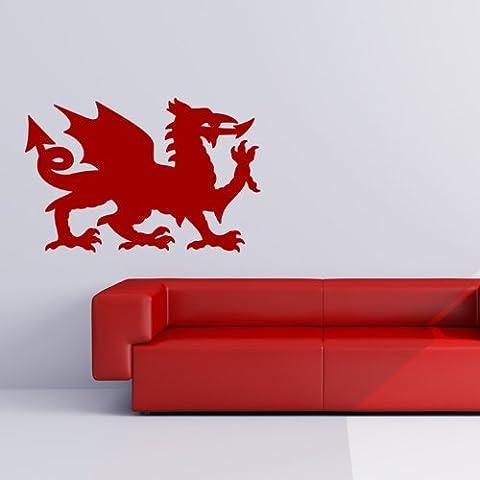 Dragón Galés Etiqueta de la pared de Gales Tatuajes de pared Arte disponible en 5 tamaños y 25 colores X-Large Oro