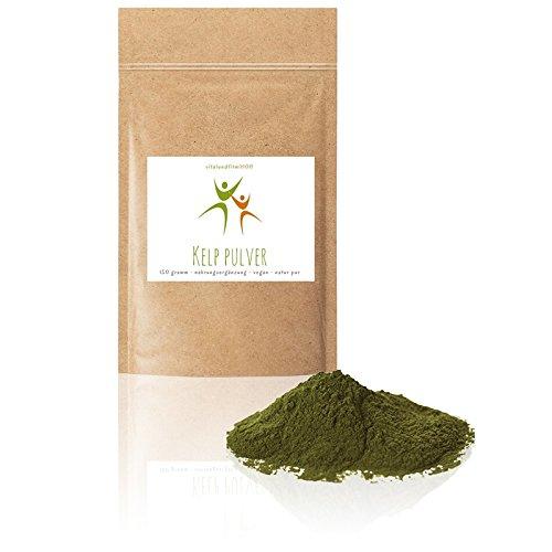 Kelp Pulver | 150 g | natürliche Jod-Quelle | mit Koscher Zertifizierung | 100% vegan & rein | Rohkostqualität | Glutenfrei | OHNE Hilfs- u. Zusatzstoffe | Beste Qualität aus Frankreich