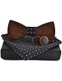 Bella Hölzerne Krawatte Fliege mit Einstecktuch Manschettenknöpfen Set Schleife Fliege Hölzfliege für Herren Mode für Hochzeiten Partei zum Anzug mit Geschenkbox