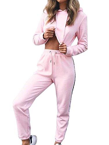 Femmes Casual Tracksuit Sporting Sweat-shirt à Capuche Crop Top Suit Sportsuit 2 Pcs Sportswear Set Hoodies Long Pantalons Jogging Set Rose