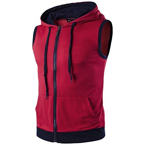 Zhhlaixing traspirante Men's Summer Lightweight Sleeveless Drawstring Sweatshirt Hoodies Top Red