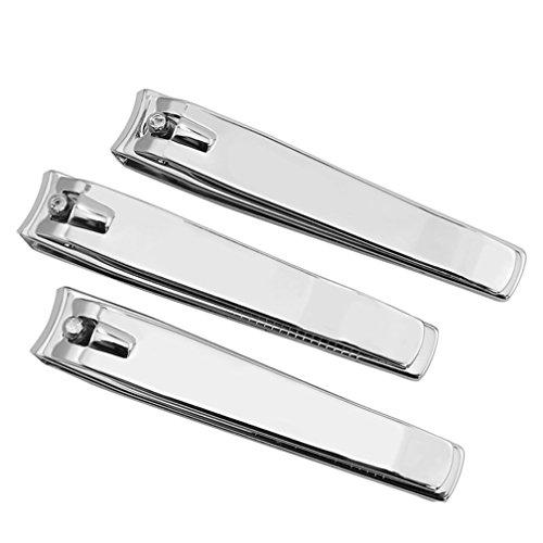 Männer Zehennagel Clipper (Mxixi 3 Stück High-Carbon-Stahl Fingernagel und Zehennagel Clipper Cutter Nagelknipser Silber Ton Geschenk-Set für Männer und Frauen)