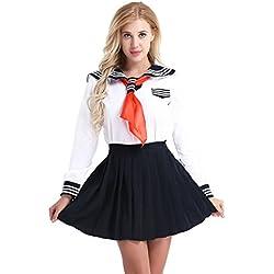 TiaoBug S-XXL 3Pcs Mujer Disfraz de Chica Japonesa Cosplay Traje de Marinero JK Uniformes Escolares Japoneses y Coreanos Estilo Británico para Chicas Blanco S