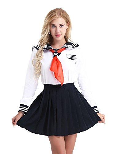 iixpin Damen Japanisch Einheitliche Langarm Schuluniform Sailor uniform Halloween Karneval Cosplay Kostüm Gr.S-XXL Weiß XX-Large (Sexy Sailor Girl Kostüm)