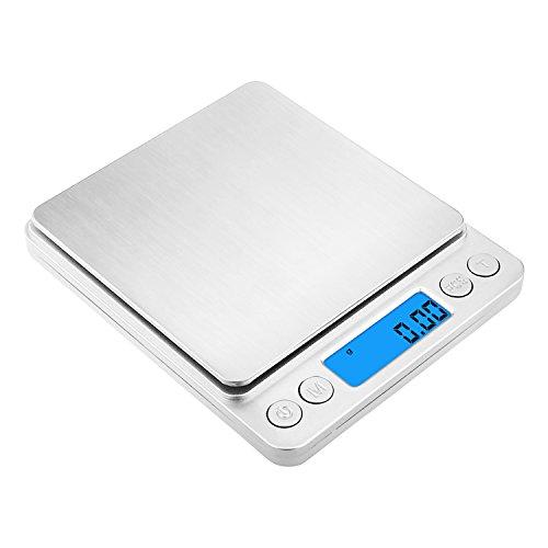 Shayson Báscula Digital con bandejas, Cocina de Alta Medición Precisa Balanza Electrónica Digital para Cocina, Alta precisión a hasta 0.01g, función de Tara (0.01-500g)
