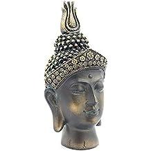 Impresionante Burnt efecto bronce cabeza de Buda Busto Estatua Nuevo y en caja 20cm