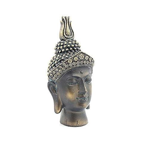 Superbe effet brûlé Bronze Thai Tête de Bouddha Buste Statue