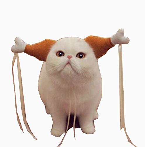 HongBao Pet Handmade Hähnchenschenkel Kopfschmuck Hut Hähnchenschenkel Lustiger Kopfschmuck, Süße verspielte dekorative Haustier Halloween Lustiger Kopfschmuck, lustige Partyartikel,Large (Für Halloween Partyartikel Die)