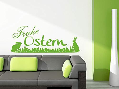 GRAZDesign Wandaufkleber Flur Küche Frohe Ostern - Osterdeko Fenster Osterdekoration Osterhase - Wandtattoo Ostereier Wiese / 128x50cm / 830056_50_826