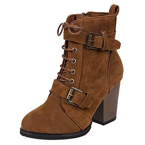 LuckyGirls Mujer Twin Buckle Cordones Nieve Botas Botines Invierno Zapatos