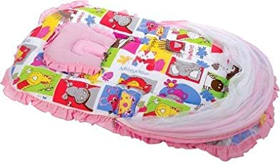 Mee Mee Baby Mattress Set with Mosquito Net and Pillow (Pink)