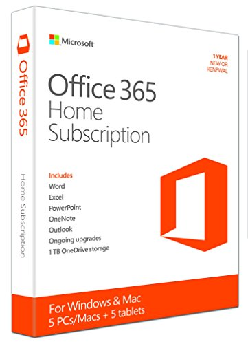 Microsoft Office 365 Home - 5PCs/MACs - 1 Jahres Abonnement (Product Key...