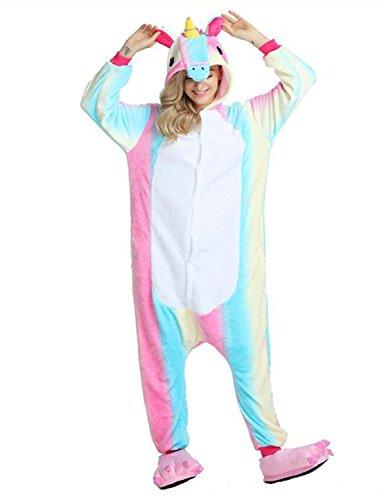 Einhorn PyjamaTierkostüme Jumpsuit Erwachsene Schlafanzug Unisex Cosplay (XL(Höhe175-182CM), Helle Regenbogenfarben) (Pink Einhorn Kostüm)
