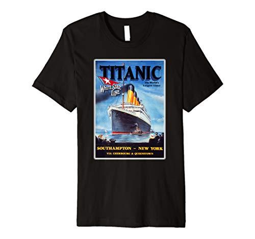 Vintage Titanic Schiff Poster T-Shirt für Mann Frau Kinder (Titanic Kostüm Kinder)