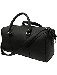 Essart Faux Leather Black Gym Bag(15inch X 8inch X 7.5inch)
