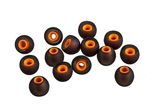 XCESSOR (L) 7 Paar (14 Stück) Silikon-Ersatz-Ohrhörer Groß Größe Ersatz-Ohrstöpsel für Beliebte in-Ear-Kopfhörer. Schwarz/Orange thumbnail