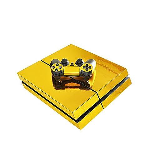 Morbuy PS4 Skin Design Folie Aufkleber Sticker schützende Haut Schale für Sony Playstation 4 Konsole und 2 Dualshock Controller Skins (Gold Glänzend)