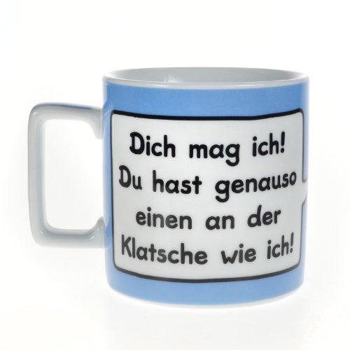 """Sheepworld 42256 Wortheld-Tasse """"Dich mag ich! Du hast genauso einen an der Klatsche wie ich!"""", Porzellan, Hellblau/weiß"""