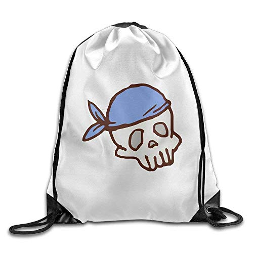 Galleria fotografica Jolly2T 3D Print Drawstring Backpack | Rucksack | Shoulder Bags | Gym Bag - (White Cartoon Skull)
