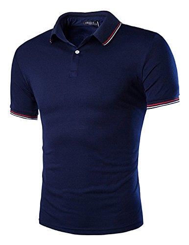 YCHENG Herren Basic Kurzarm Poloshirt Polos T-Shirt Einfarbig M-XXL Blau 1