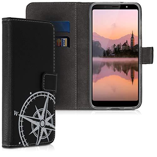 kwmobile HTC U12 Life Hülle - Kunstleder Wallet Case für HTC U12 Life mit Kartenfächern & Stand - Kompass Vintage Design Weiß Schwarz