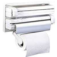 3 in 1 Foil Cling Film Tissue Wrap Aluminium Kitchen Triple Paper Roll Dispenser Hanger Stand Organizer & Holder for Kitchen Roll Tissue with Spice Rack - White