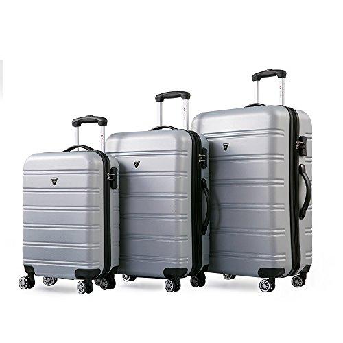 Gepäckset Kofferset Zwillingsrollen Hartschalen Reisekoffer 3tlg. Trolleys mit Zahlenschloss, 3 teilig Gepäck mit 4 Doppel-Rollen, Set-XL-L-M (Silber)