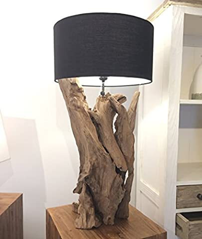Rustic Wooden Lamp - Teak Root Table Lamp - Bedroom Lighting - With Black Shade