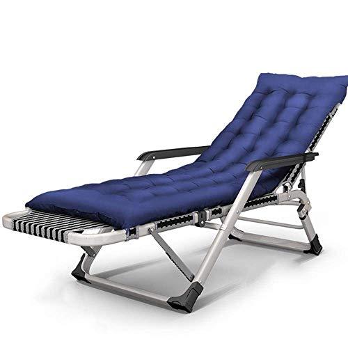 WJJJ Klappbarer Gartenstuhl mit Fußstütze und Kissen Camping Travel Textilene Liegestühle Gartenstoffe (Farbe: Blau)