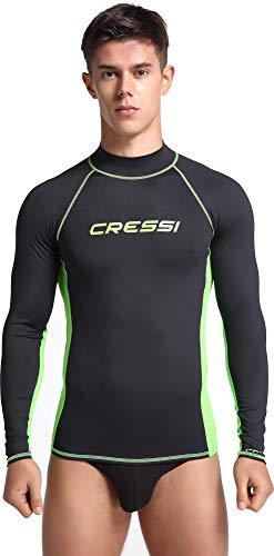 Cressi Herren Rash Guard Lange Ärmel aus elastischem Stoff für Erwachsener UV-Schutz (UPF) 50+, Schwarz/Kiwi, L/4 (52)