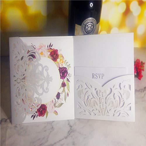 AOWEIRILUV 50 Stück Blumenmuster Hochzeit Einladungskarte Postkarte Geschäftseinladung