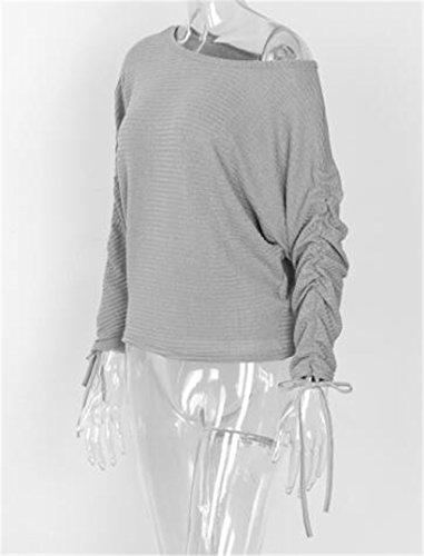Tayaho T-shirt Femme Chemise Epaule Nue Manches Longues Tunique Col Rond Casual T-shirt Couleur Unie Court Top Baggy Sexy Blouse ElÉGant Basique Haut Décontractée gray