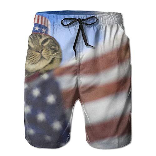 Abfind Amerikanische Flagge und The Cat Männer/Jungen Casual Shorts Muster Badehose Badeanzug elastische Taille Strandhose Tasche,M