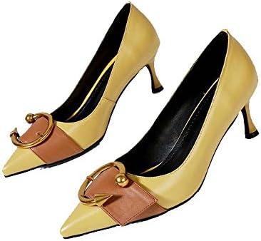Zapatos de Mujer Spring New Leather Belt Buckle Zapatos de Boca Poco Profundos Zapatos de Tacón Alto de Cuero...