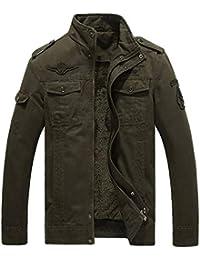 Homme Printemps Automne Veste Militaire Blousons à col Slim Coton Veste  D outillage Mince Zip c3bdd57ec98