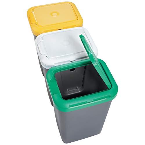 Productos Del Hogar Papelera Reciclaje 3 Compartimentos, 75 litros Capacidad Total, 78,5 Ancho x 33...