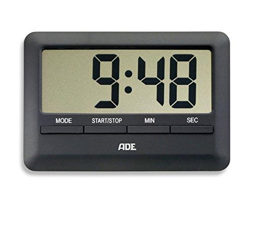 ADE Digitaler Küchentimer TD 1601 (Der flachste Timer der Welt inklusive Uhrzeit, Wecker, Countdown und Stoppuhr, Magnet-Aufhängung, LCD-Display) schwarz