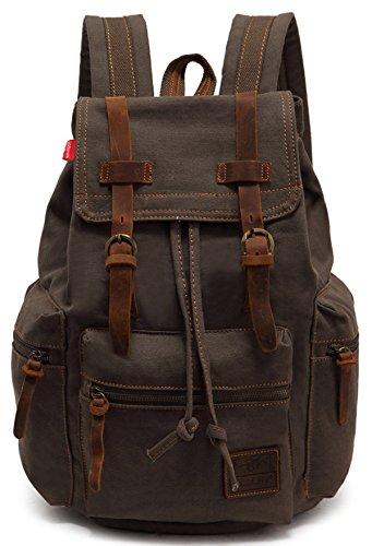 Imagen de ecocity unisex vintage lonas laptop backpack rucksack  escolar, verde militar alternativa