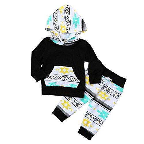 Passen Zwei Stück Anzug (Manadlian Neugeborenes Zwei Stück Passen Säugling Baby Junge Geometrisch Kapuzenpullover Oberteile + Hose Outfits Beiläufig Mode Baumwolle Niedlich Herbst Winter Mit KapuzeKleider (9M, Schwarz))
