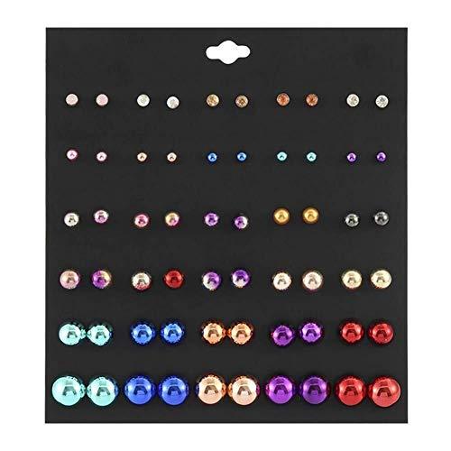 Ohrstecker, 30 Paar Ohrring Set Edelstahl Perle/Vintage Ohrstecker Schmuck for Mädchen, Frauen, Männer Ohrringe Geschenk (Color : E)