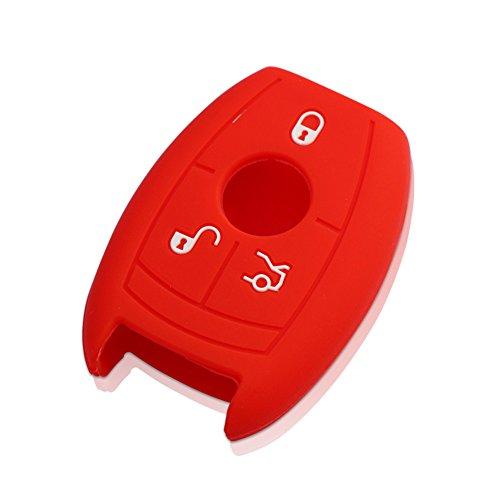Happyit 2PCS silicone auto chiave guscio cover per Mercedes Benz auto classe B C E S GLK300E260L CLA CLS ml gLa GLK Glc 3pulsanti Remote Key Shell, Red