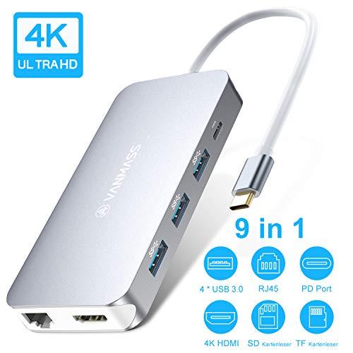 VANMASS USB C Hub 9 in 1 mit 4 VR Chips 90W PD Anchluss Aluminium USB C Adapter mit 4K HDMI Anschluss 4 x USB 3.0 Port SD/TF Leser QC Port Ethernet für USB-C Laptops und mehr Type-C Gerät